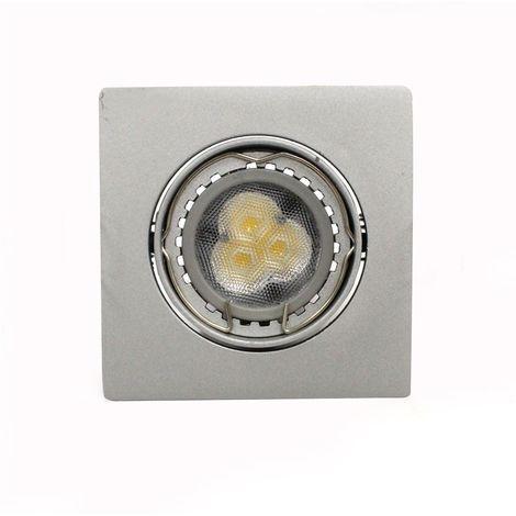 Aro empotrable LED GU10 6W cuadrado basculante acero CRISTALRECORD 1339003905