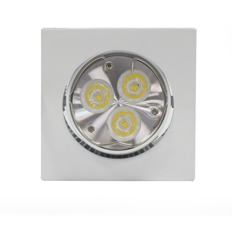 Aro empotrable LED GU10 6W cuadrado basculante blanco CRISTALRECORD 1339003939