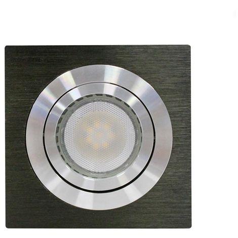 Aro empotrable LED GU10 7W cuadrado basculante negro CRISTALRECORD 1339004036