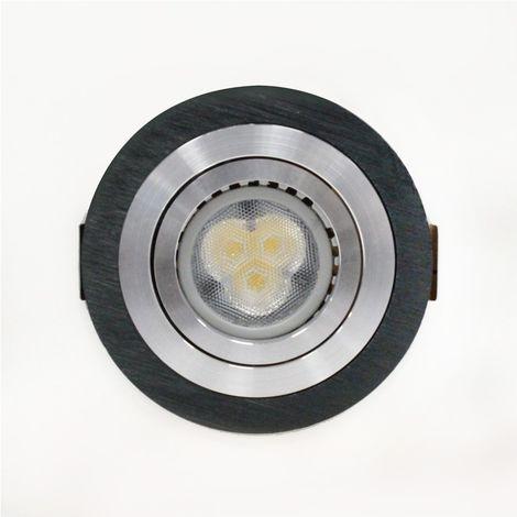 Aro empotrable LED GU10 7W redondo basculante negro CRISTALRECORD 1339004028