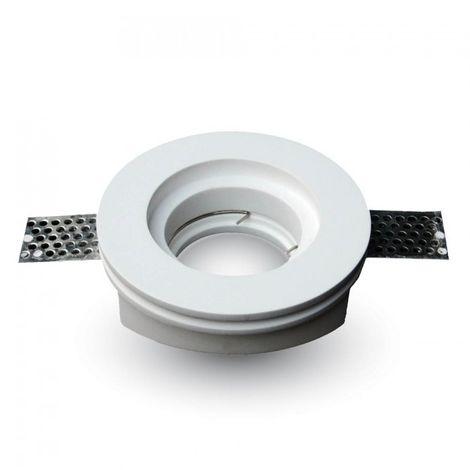 Aro empotrable para bombilla escayola circular plano. Acabado blanco