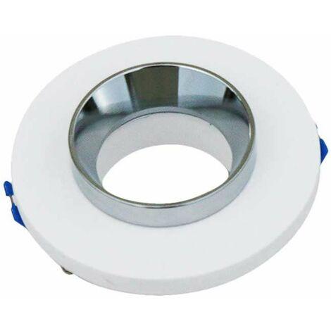 Aro empotrable para bombilla LED GU10 yeso circular blanco y cromo