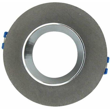 Aro empotrable para bombilla LED GU10 yeso circular gris y cromo