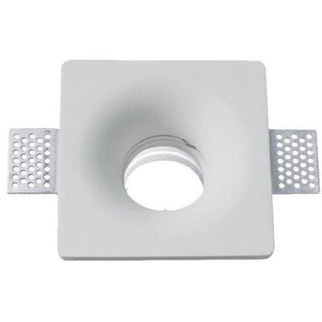 Aro empotrable para bombilla LED GU10 yeso cuadrado. Acabado blanco