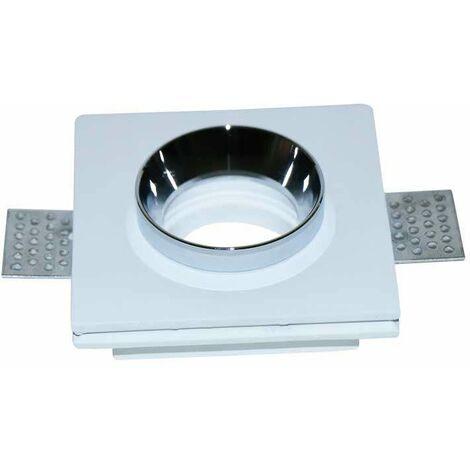 Aro empotrable para bombilla LED GU10 yeso cuadrado. Acabado en blanco y cromo