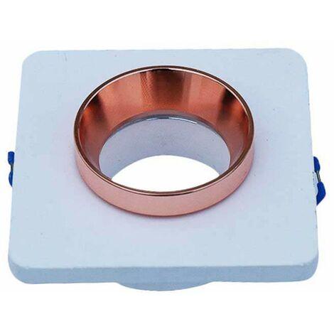 Aro empotrable para bombilla LED GU10 yeso cuadrado blanco y rose gold