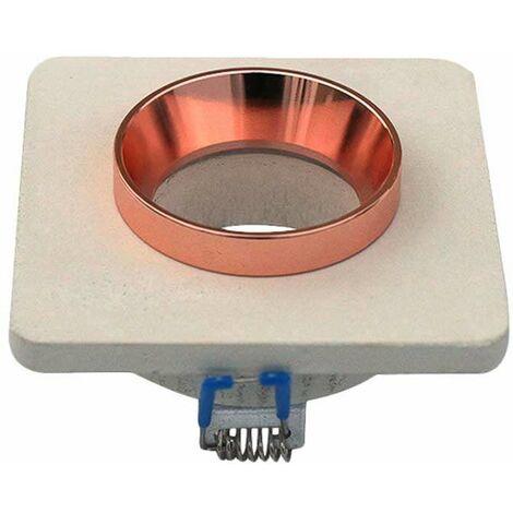 Aro empotrable para bombilla LED GU10 yeso cuadrado color hueso y rose gold