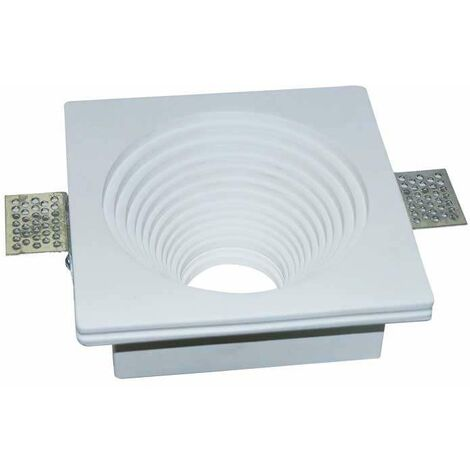 Aro empotrable para bombilla LED GU10 yeso cuadrado cónico excellence blanco