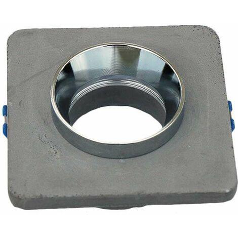 Aro empotrable para bombilla LED GU10 yeso cuadrado gris y cromo