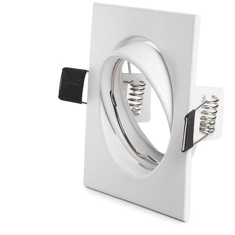 Aro Foco Downlight Basculante Cuadrado Aluminio Blanco 83/83Mm (HO-ARO-2008)
