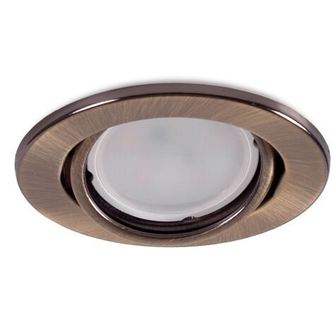 "Aro Foco Downlight Circular Basculante ""Vepa"" Acero 90mm - Latonado (LL-20-1510-16)"