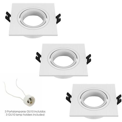 Aro foco empotrable regulable con portalamparas para bombillas gu10. 93 x 93 x 25 mm. bombilla vista. pack de 3 unidades