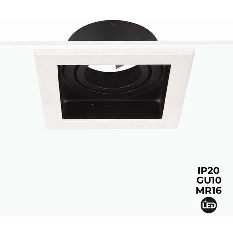 Aro kardan cuadrado blanco basculante para bombilla LED GU10 / MR16