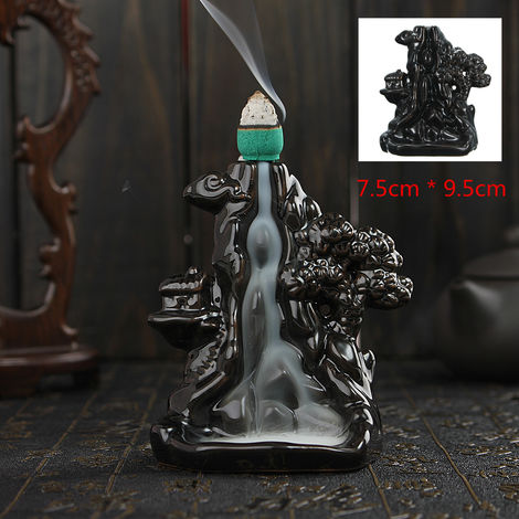 Aromatherapy Diffuser Mountain Water Backflow Ceramic Incense Burner Holder Buddhist Censer Home Decor
