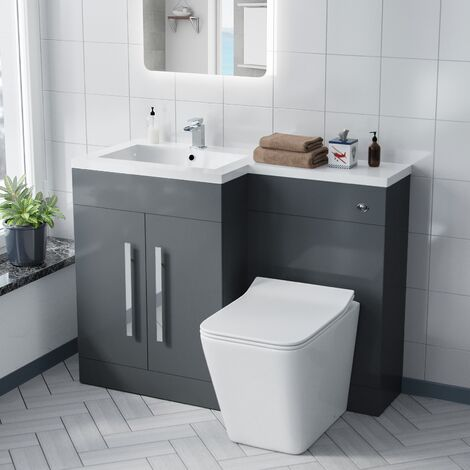 Aron 1100mm Left Hand Basin Sink Combination Vanity Unit - Inton Back To Wall Toilet