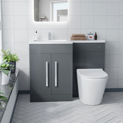 Aron 1100mm Left Hand Basin Vanity Unit And WC Toilet Furniture