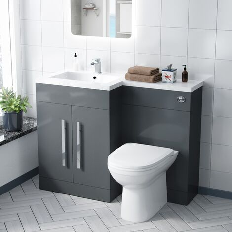 Aron 1100mm Left Hand Grey Basin Combination Vanity Unit - Melbourne Back To Wall Toilet
