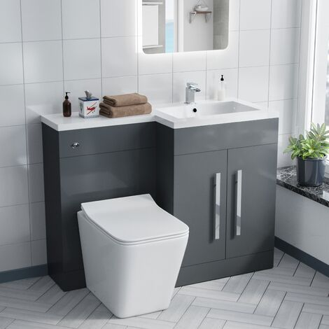 Aron 1100mm Right Hand Basin Sink Combination Vanity Unit - Inton Back To Wall Toilet
