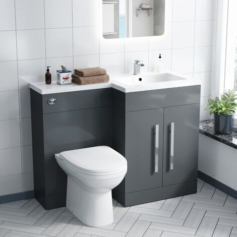Aron 1100mm Right Hand Grey Basin Combination Vanity Unit - Melbourne Back To Wall Toilet