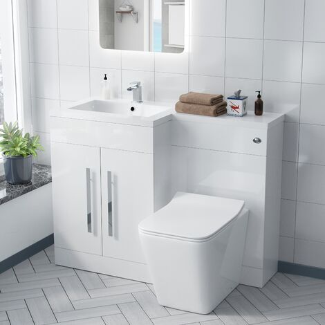 Aron 1100mm White Left Hand Basin Sink Combination Vanity Unit - Inton Back To Wall Toilet