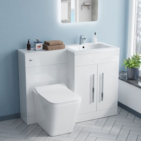 Aron 1100mm White Right Hand Basin Sink Combination Vanity Unit - Inton Back To Wall Toilet