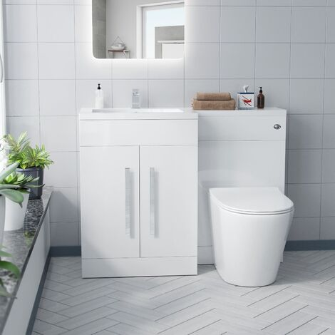 Aron White 1100mm Left Hand Basin Vanity Unit And WC BTW Toilet Furniture