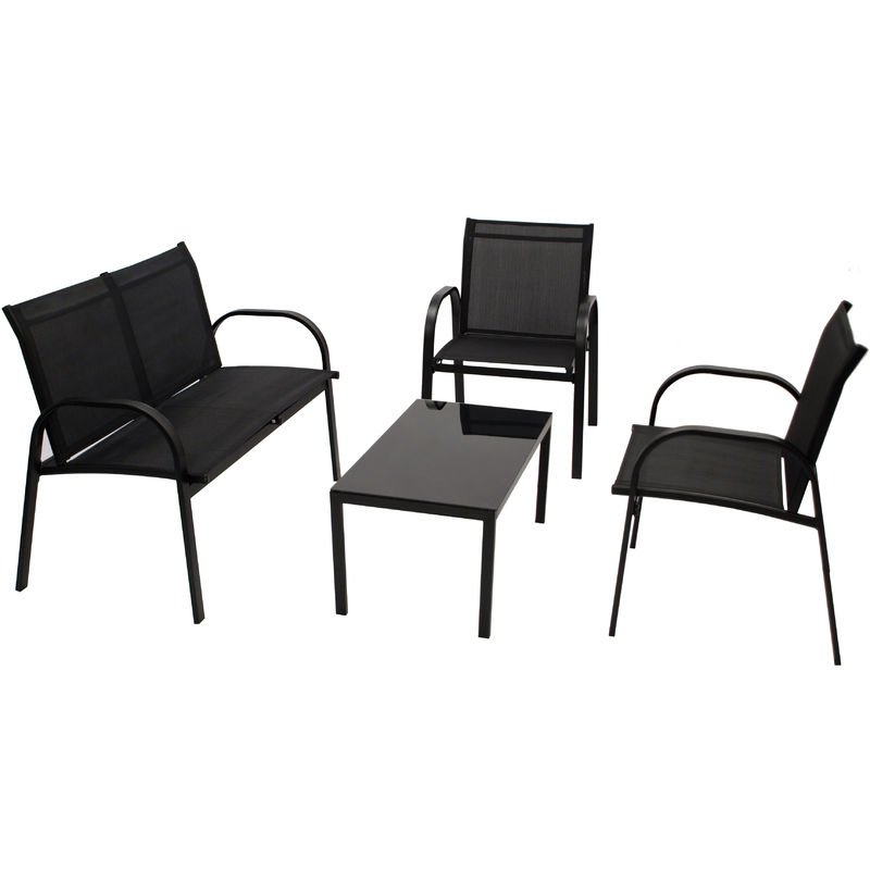 ARONA: Lounge Set 4-teilig (2x Loungesessel, 1x Loungesofa 2-sitzer, 1x Loungetisch 80x45cm) Gestell Stahl schwarz, Bezug Kunstgewebe schwarz,