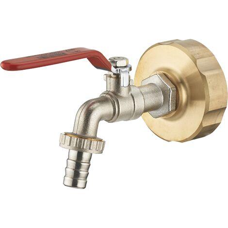 AROZ Kit per serbatoio da 1000L, raccordo in ottone s60-femmina 3/4 + rubinetto 1/4 di giro maschio 3/4