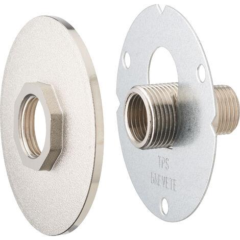 AROZ Platine de fixation robinet exterieur à visser + platine finition nickelé