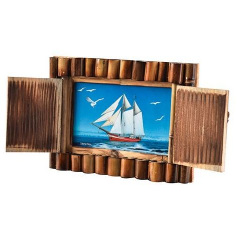 Arpan Handmade Bamboo Shutter Photo Frame (4 x 6 inches) (Brown)