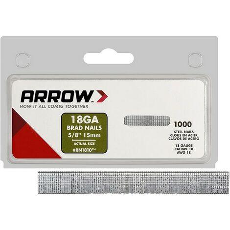 "ARRBN1810CS - Arrow BN1810 Brad Nails 15mm (5/8"") Light Duty Box 1000"