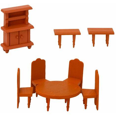 """main image of """"arredamento Sala da Pranzo per casa delle bambole   set di 8 mobili in miniatura   di legno"""""""