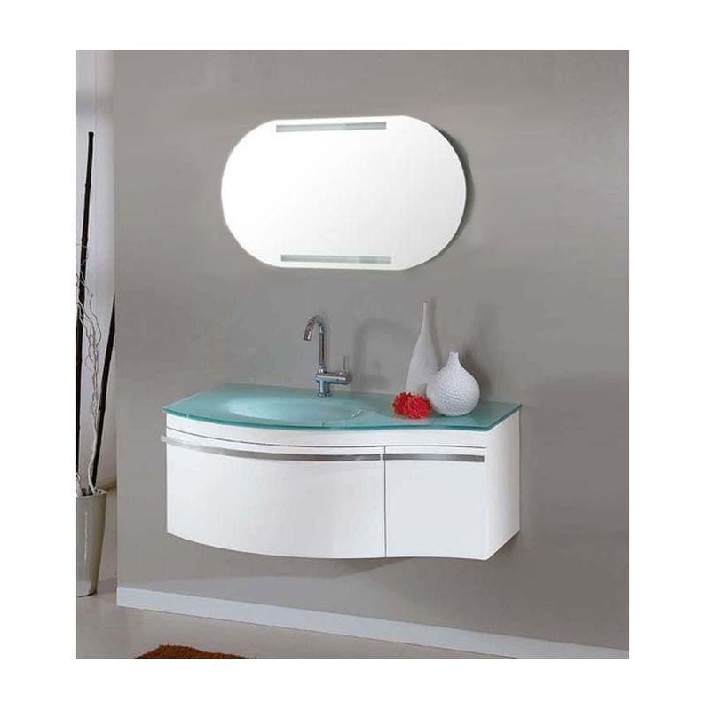 Arredo bagno 100 cm mobile bianco moderno sospeso lavandino in ...