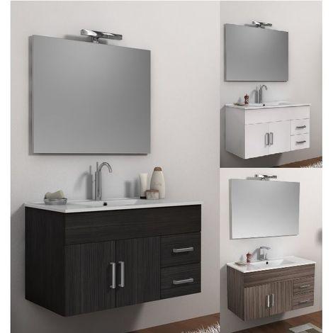 Arredo Bagno 100 cm mobile sospeso moderno colori bianco con lavabo ...