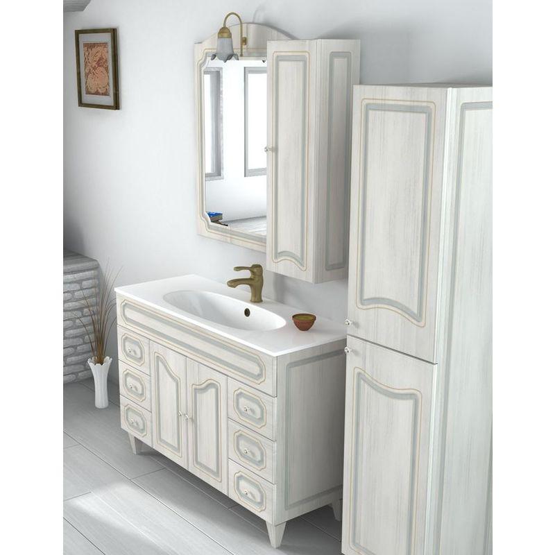 Arredo Bagno 120cm mobile arte povera bianco decapè con specchio ...