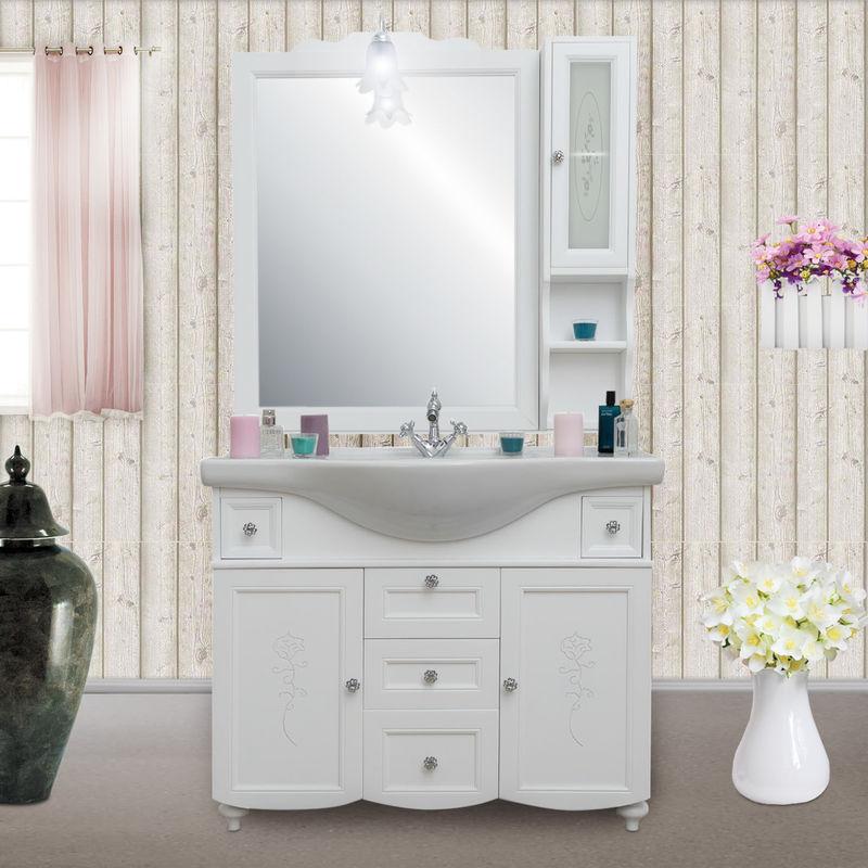 Arredo bagno in stile provenzale legno bianco opaco con intagli da 105 cm