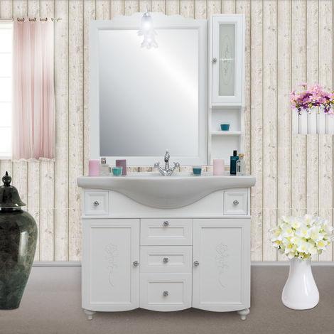 Arredo bagno in stile provenzale legno bianco opaco con ...