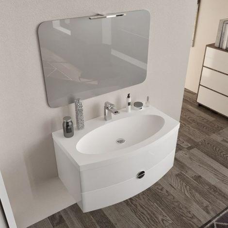 Arredo bagno mobile SOSPESO 90 cm con lavabo, specchio e lampada led ...