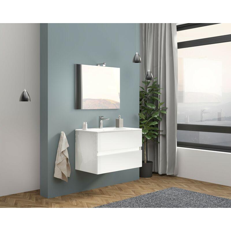 Arredo Bagno Mobile Sospeso Bianco 80 Moderno con Lavabo Specchio Lampada Easy
