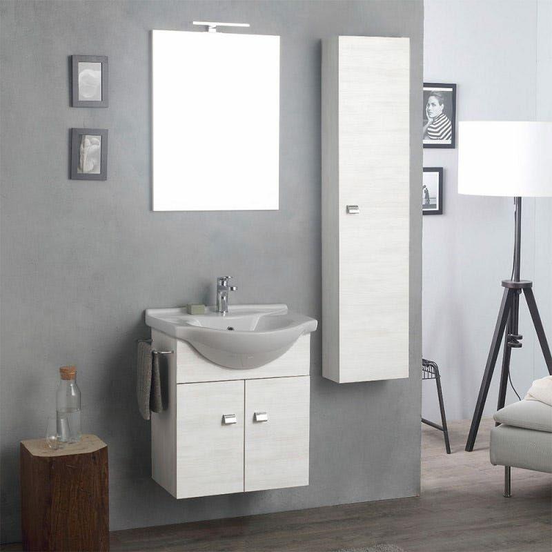 Arredo bagno sospeso con mobile specchio e colonna rovere for Arredo bagno colonna