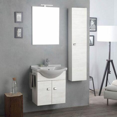 arredo bagno sospeso con mobile specchio e colonna rovere