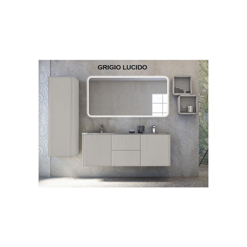 Arredo Bagno sospeso doppio lavabo in cristallo mobile 140 cm bianco lucido  Mobili