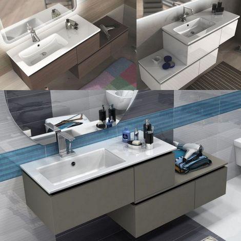 Arredo bagno sospeso moderno 100 cm + cassettiera 100 cm rovere soft bianco  o talpa