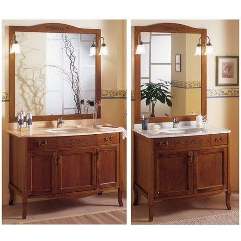 Arredo da bagno cm 90 mobile con lavabo sottopiano arte povera mobili  specchio con applique top in marmo