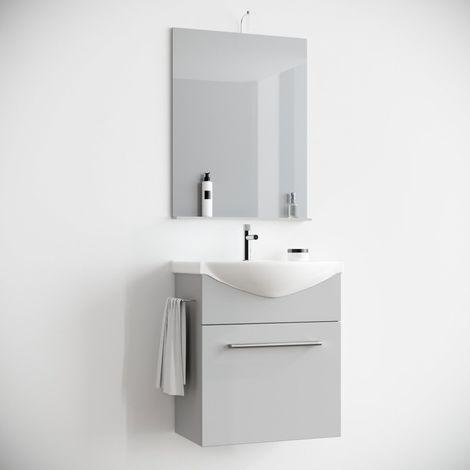 Arredo Mobile Bagno salvaspazio sospeso 60 cm GRIGIO con lavabo in Ceramica Specchio e Luce. Papavero
