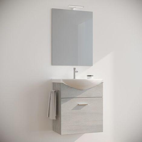 Arredo mobile bagno salvaspazio sospeso 60 cm ROVERE BIANCO con lavabo in  Ceramica Specchio e Luce. Ginestra