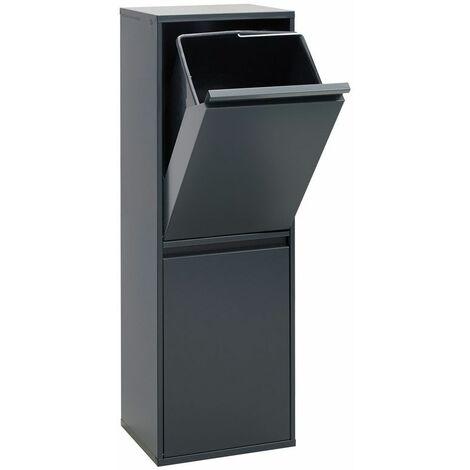 Arregui Basic CR204-B Poubelle de recyclage en acier, poubelle de tri sélectif, 2 seaux, 2 x 17L (34L), anthracite - gris foncé anthracite