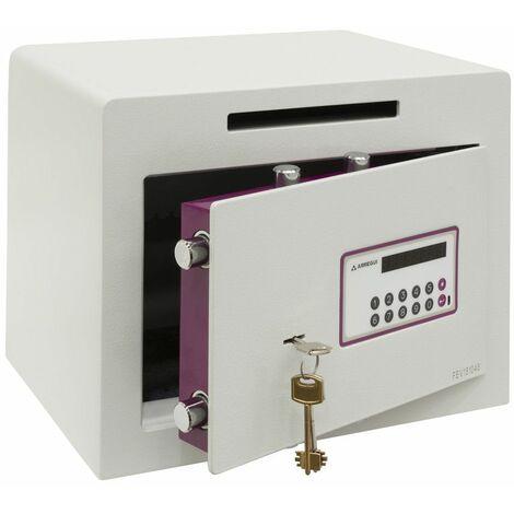 Arregui Forma Evolution 150040-SL Coffre-fort à poser avec fente de dépôt, 6 mm, double sécurité : ouverture à clé et à code électronique, 30 x 38,5 x 30 cm, 27 L - blanc