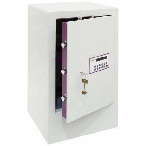 Arregui Forma Evolution 150090 Coffre-fort à poser, 6 mm, double sécurité : ouverture à clé et à code électronique, 62 x 38,5 x 36 cm, 71 L - blanc