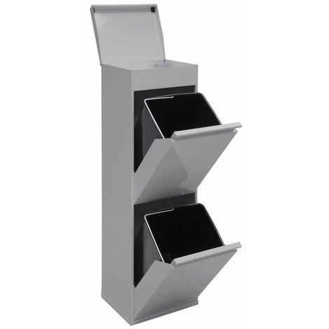 """main image of """"Arregui Top CR222-B Poubelle de recyclage en acier, poubelle de tri sélectif, 2 seaux, avec plateau supérieur multifonction, 2 x 17L (34L), gris - gris"""""""